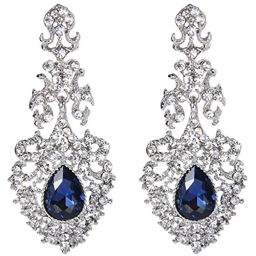 Blue Austrian Crystal Rhinestone (EVER FAITH Silver-Tone Austrian Crystal Elegant Lace Hollow-out Tear Drop Chandelier Earrings)