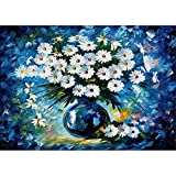 5D DIY Diamond Painting Rhinestone Pictures of Crystals Embroidery Kits Arts Crafts & Sewing Cross White Chrysanthemum Flower Stitch 12X16 inch