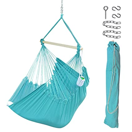 Lazy Daze Hammocks XXL Hanging Rope Hammock Chair Swing Seat with Drink Holder, Carrying Bag and Hanging Hardware, Weight Capacity 300 Lbs, Blue