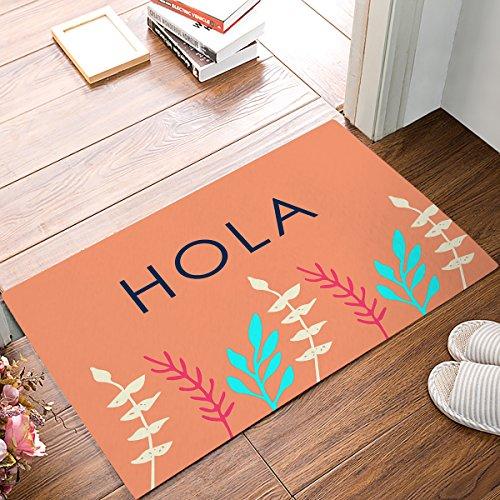 (IDOWMAT Indoor/Outdoor Doormat Shoes Scraper for Front Door Kitchen Bathroom Garden Entrance Outside Floor Rug Mats Non-Slip Low Profile Washable Carpet - Spanish Greetings Hola Flowers Decor)