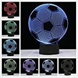 3D Night Led Lamp Optical Illusion Soccer Smart Touch Button Light 7 Color Changing Home Decoration Table Lantern for Kid Gift (Football)