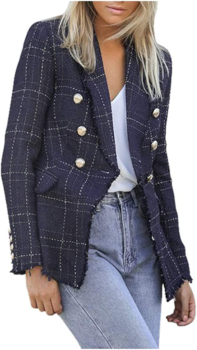 Damen Blazer Jacke Anzugjacke Sakko Business Slim Fit Jäckchen Mantel Casual DE