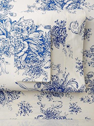Cotton Toile Sheet Set (Melange Home 189731 Sheet Set, Full, Navy Toile)