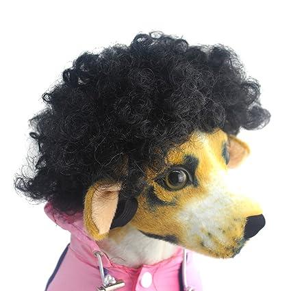 Espeedy Perro peluca mascotas tocado divertido pelucas cortas Syethetic rizado pelo Disfraces Cosplay acicalamiento disfraces para