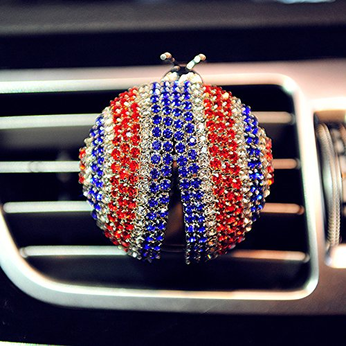 FULL WERK Fashion Shining Diamond Ladybug Car Charm Interior Trim Air Vent Perfume Creative Fragrance Air Freshener Holder Container, Floral Scent (Blue+Red)