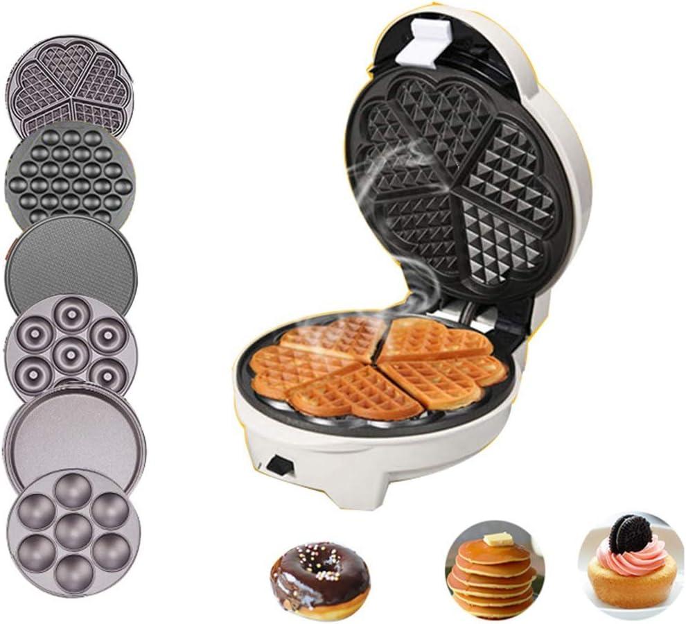 Lu- Waffle máquina-6 Bandeja de Horno, hogar automático máquina de la Torta, Mollete Máquina Egg Roll máquina multifunción máquina de Huevo, se Puede Cambiar fácilmente - Blanco