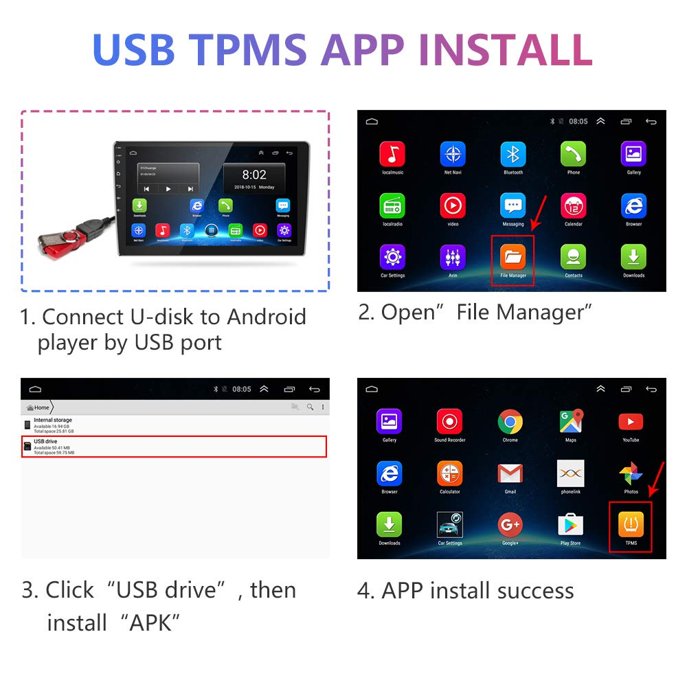 TPMS Tire Pressure Alarm Monitor System for Car Android Navigation Player with 4pcs Waterproof External Sensors Jansite USB Android Tyre Pressure Monitoring System