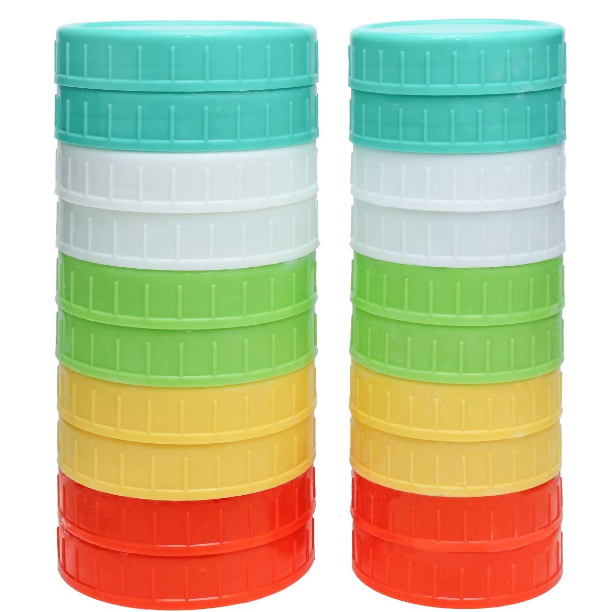 Mason Jar Plastic Lids for Regular Mouth and Wide Mouth for Storage Colored 20 Pack by FYYZY