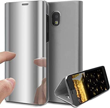 HMTECH Galaxy J7 Pro Funda Espejo Mirror Cuero de PU Bookstyle ...