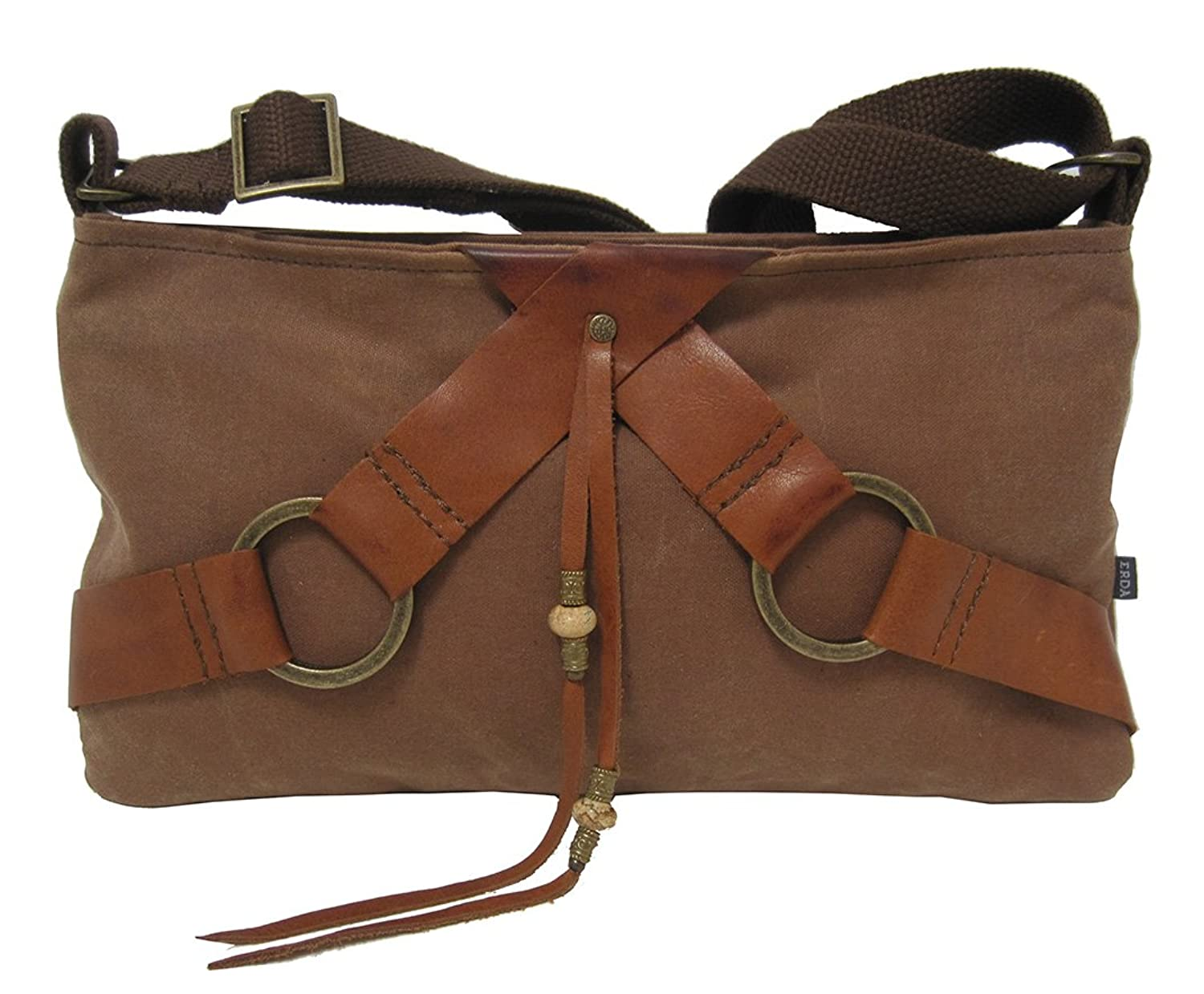 """Chelsea"" Cross Body Handbag in Waxed Canvas and Leather - Made in Maine"