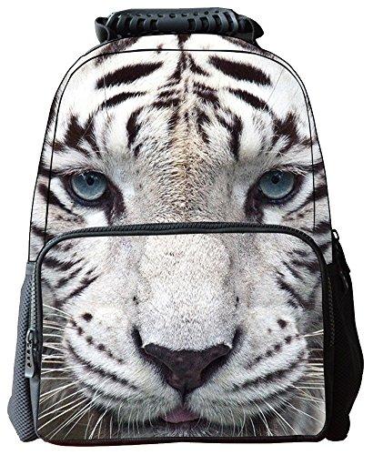 yeah67886multifuncional portátil bolsa de lona 3d animales Print Mochila Escolar (color blanco)