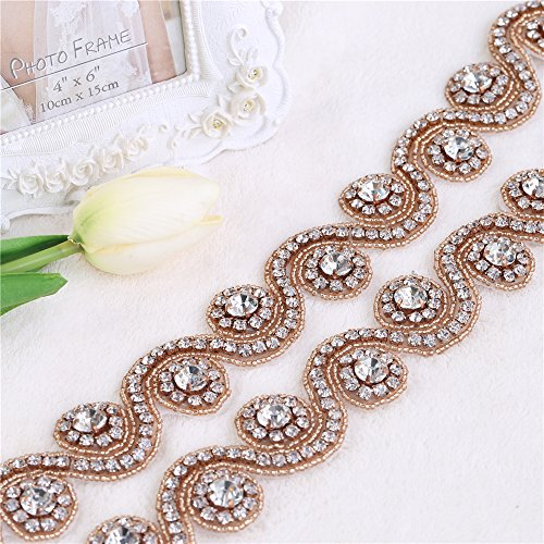 Sash Trim (Rhinestone Trim By the Yard,Crystal Bridal Sash Belt with Rhinestone Applique for Wedding Dress,Wedding Belt Beaded Trim Sparkly Diamond Applique Iron on Sewing (Rose Gold))