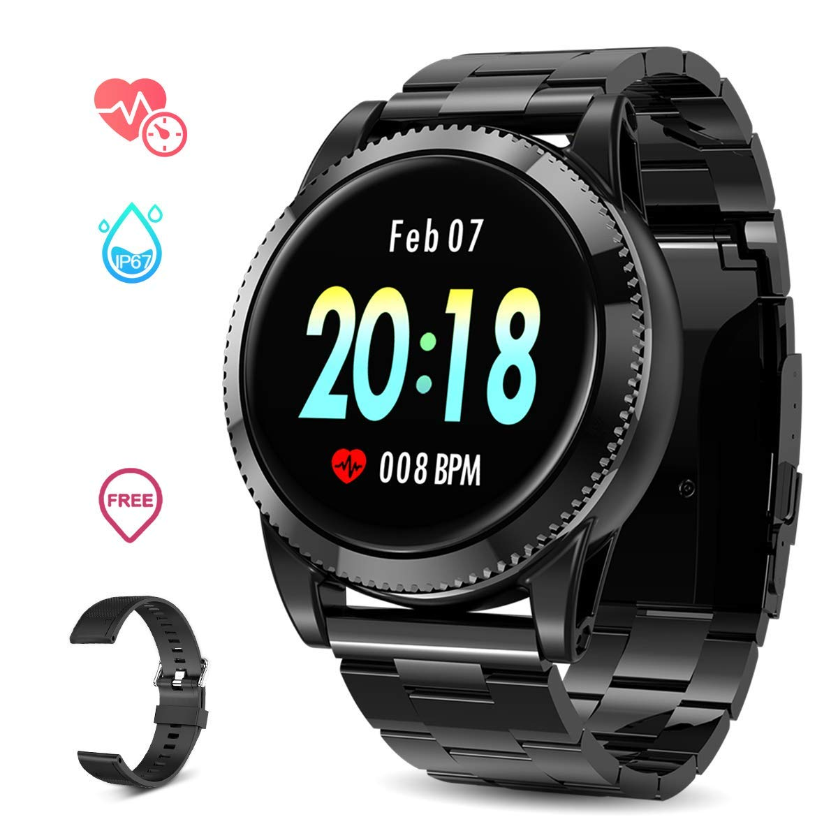 GOKOO Smart Watch for Men with All-Day Heart Rate Blood Pressure Sleep Monitor IP67Waterproof Activity Tracker Notification Camera Music Control Black by GOKOO