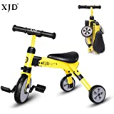 XJD 2 In 1 Toddler Trike Baby Tricycle Baby Balance Bike Carry Bag Lightweight Folding Trike Riding on Toys Ages 2-4 years old Boys Girls(yellow)