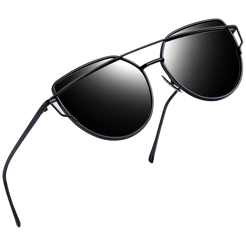 Joopin Polarized Cat Eye Sunglasses for Women Metal Frame Sun Glasses UV400 Shades (Black Frame Black Lens) by Joopin