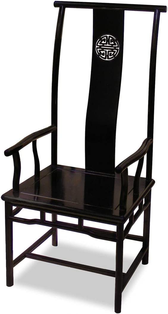 Hand Carved Rosewood Ming Style Longevity Motif Arm Chair – Black Ebony