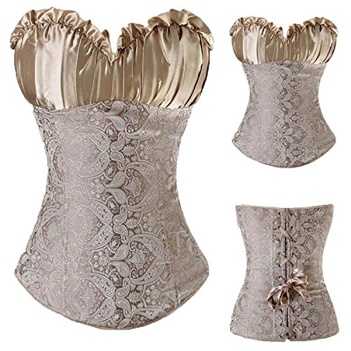 spyman Lace up Boned Overbust Costume Steampunk Waist Corset Dress Body Trainer Shapewear Top Plus Size Beige (Sexy Assassins Creed Costumes)
