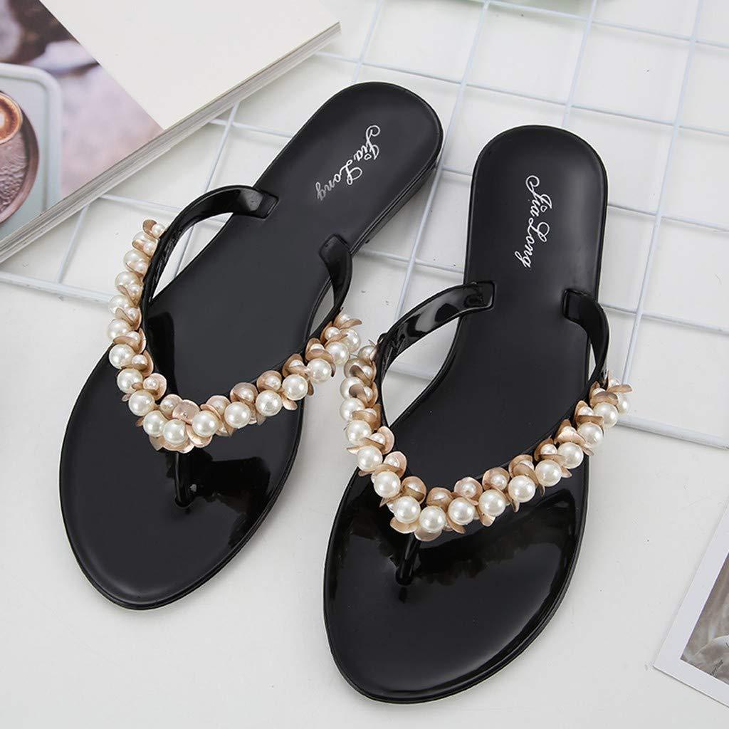 QIMITE Tongs Femme Respirant Confort Shopping Mesdames Marche Femmes Plage Pantoufles Tongs Sandales Perles Mode Pantoufles Chaussures Chaussures Noir