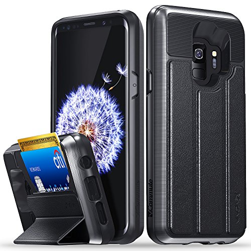 Galaxy S9 Wallet Case, Vena [vCommute][Military Grade Drop Protection] Flip Leather Cover Card Slot Holder with Kickstand for Samsung Galaxy S9 (Space Gray/Black) (Samsung S5 Otter Box Wallet Case)