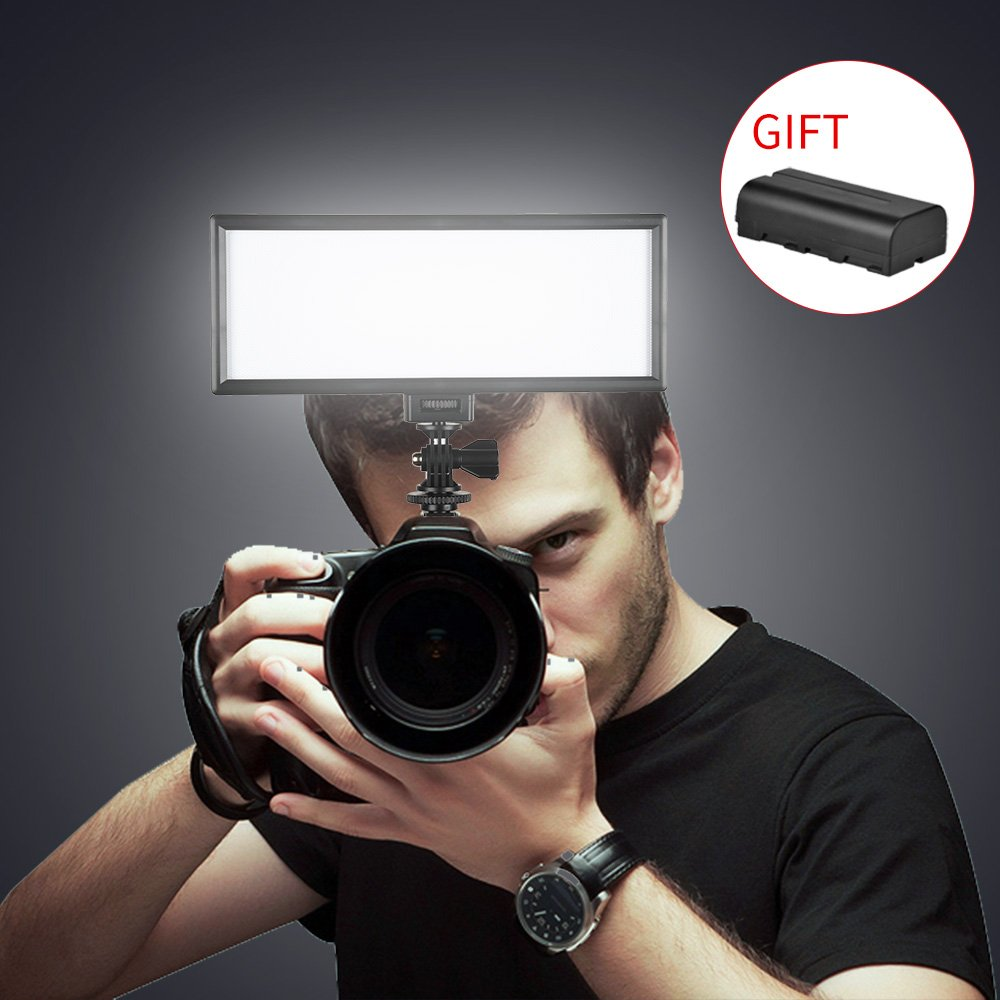 SUPON LED-L132T RA CRI95 3300K-5600K LED Video Light Panel LCD display screen,Color temperature &Brightness can be adjusted for Canon Nikon Pentax Olympus DSLR Cameras Camcorders (LED-L132T+NP-F550)