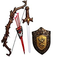 JAY ANTIQUES Warrior Set - Knights Fancy Dress Kids Cosplay - Bow Archery , King's Sword & Shield (Multi Color) RANDOME PATEREN and Item Will Ship IF AVALBLE