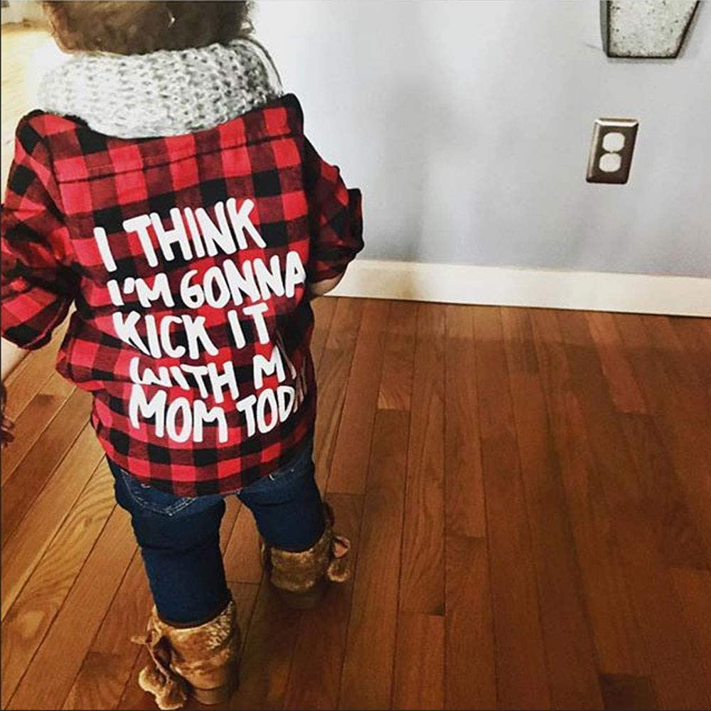 Toddler Long Sleeve Shirt Baby Boy Girl Plaid Top for Toddler Spring Winter Coat for Kid Red Plaid, 5-6 T