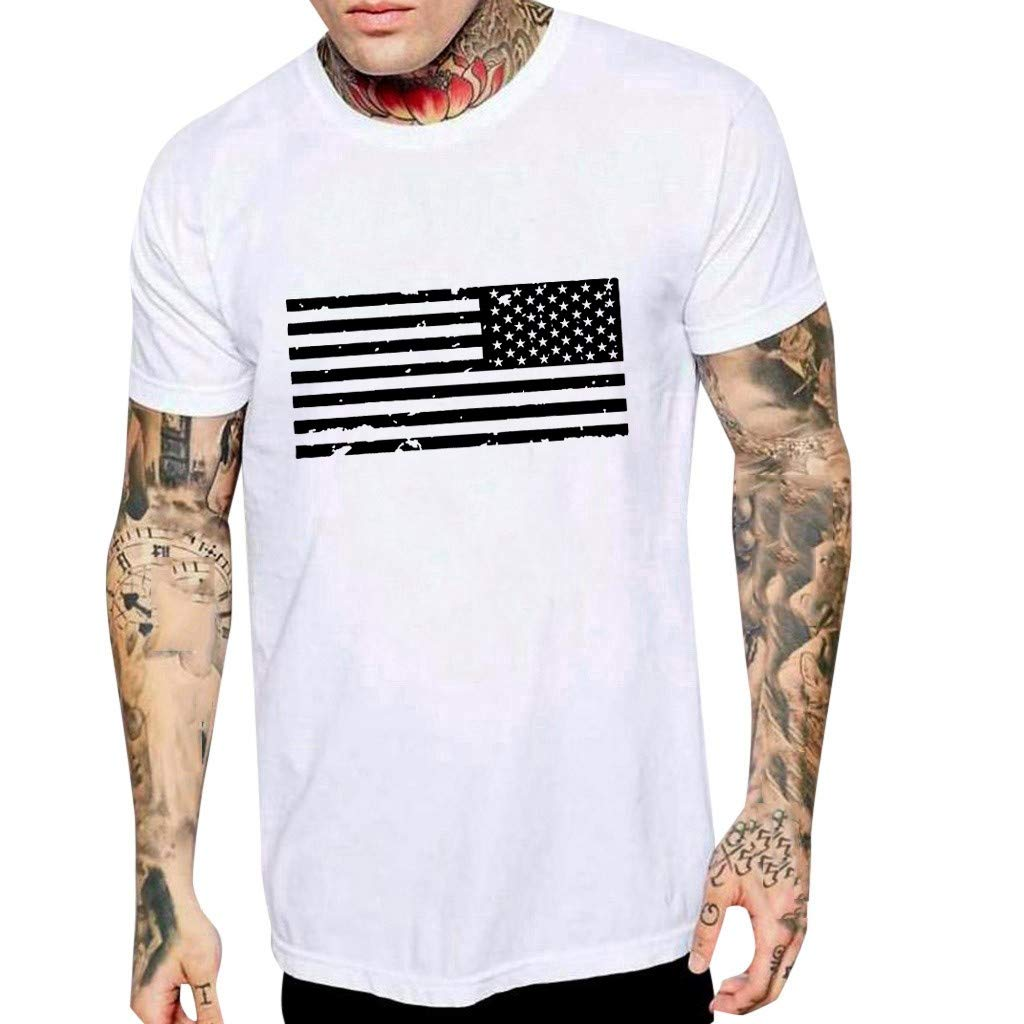 Zackate Mens Striped American Flag Printed Summer Short Sleeve T-Shirts Top Casual Loose Tees Shirts White