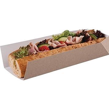 Eden Elfos 100 x cartón kraft de composición abierta Baguette Hotdog – Bandeja para buffet de