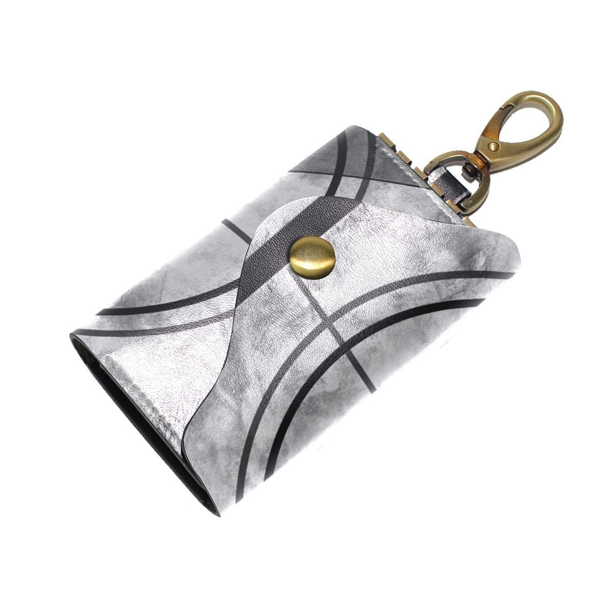 KEAKIA Film Countdown 7 Leather Key Case Wallets Tri-fold Key Holder Keychains with 6 Hooks 2 Slot Snap Closure for Men Women