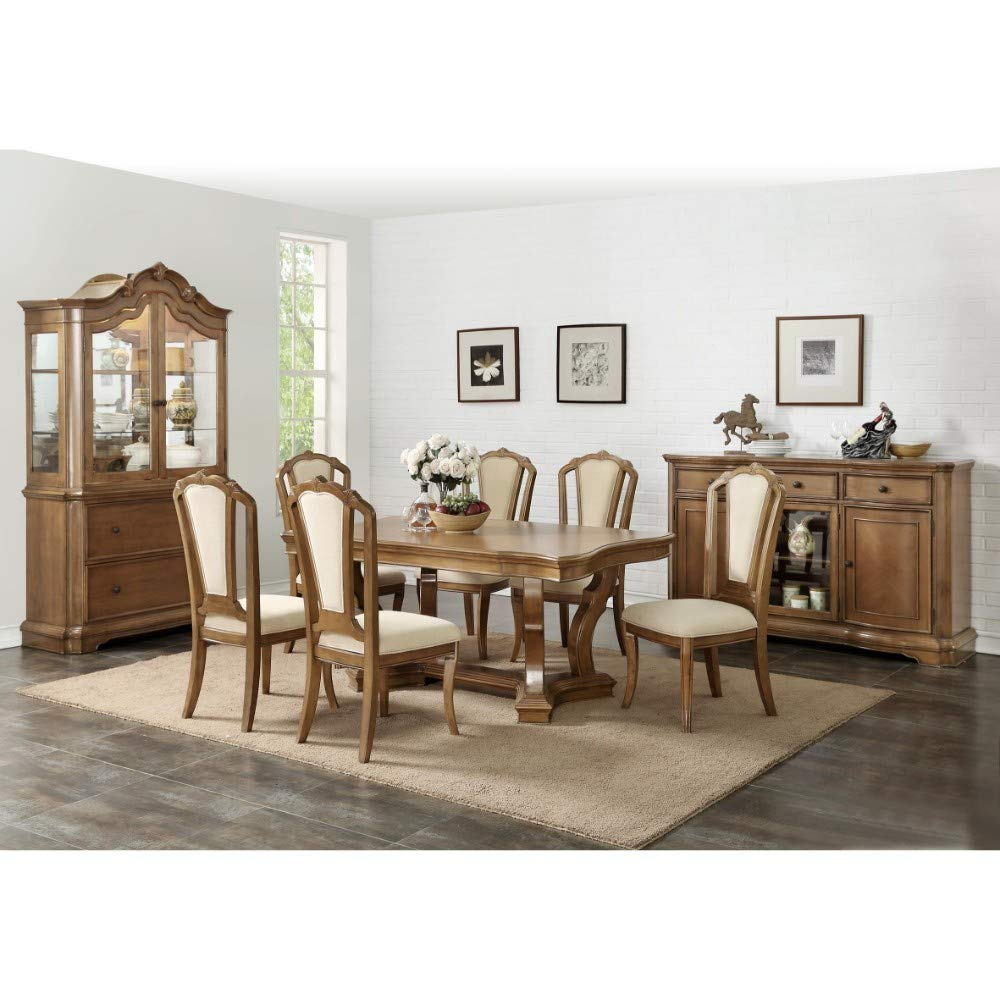 Benzara Bm171333 Wide Size Birch Wood Dining Table With Curved Edges