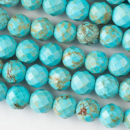 (Cherry Blossom Beads Faceted Large Hole Turquoise Howlite 10mm Round with a 2.5mm Drilled Hole - 8 Inch Strand)