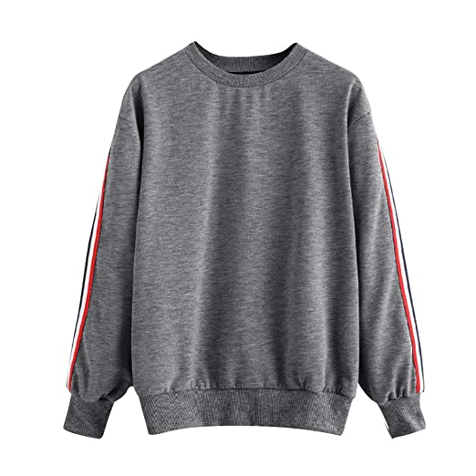 f4ce6f77d2d1 Amazon.com  Toraway- Women Fashion Crewneck Sweatshirts Pullover Oversized  Casual Stripe Long Sleeve Jumper Tops Blouse  Clothing