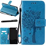 Xperia XA Ultra Case, Linkertech [Card Slots & Wrist Strap] PU Leather Wallet Flip Pouch Case with Foldable Cover and Kickstand Feature for Sony Xperia XA Ultra / Xperia C6 (Pink)
