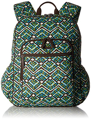 Women's Campus Tech Backpack, Signature Cotton, Rain Forest by Vera Bradley