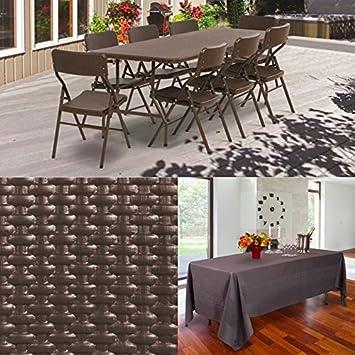 Probache - Table Pliante d\'appoint Effet résine tressée Marron 180 cm pour  Camping ou réception