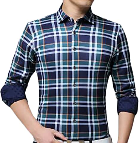UUYUK Men Checkered Brushed Button Down Casual Slim Fit Shirts