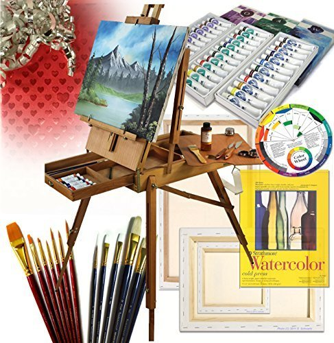 French Art Easel Set - Gift Edition - with Comprehensive Artist Quality Painting Supplies - Great Gift Idea by Online Art Supplies