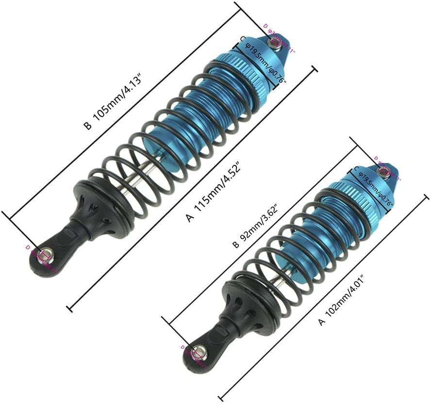 4pcs Alloy Front /& Rear Shock Absorber Springs for 1//10 Traxxas Slash 4x4 4wd Upgrade Parts RC Car Replacement Blue