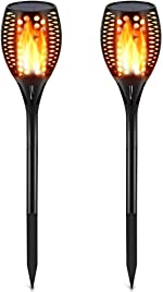 TomCare Solar Lights Upgraded, Waterproof Flickering Flames Torches Lights Outdoor Solar