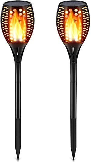 TomCare Solar Lights Upgraded, Waterproof Flickering Flames Torches Lights Outdoor Solar Spotlights Landscape Decoration Lighting Dusk to Dawn Auto On/Off Security Torch Light for Patio Driveway (2)