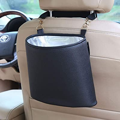 HerMia Hanging Car Trash Can Bin, Hanging Car Garbage Can PU Leather, Waterproof Litter Auto Trash Can for Travelling, Outdoor, and Vehicle (Black): Automotive