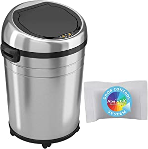 iTouchless Glide 18 Gallon Sensor Trash Can with Wheels and AbsorbX Odor Control System, Stainless Steel, 68 Liter Automatic Kitchen or Office Garbage Bin (Battery or AC Adapter - Both not included)