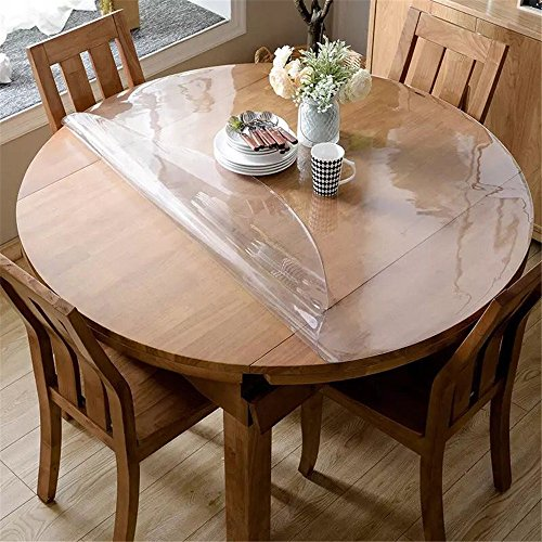 OstepDecor Custom 1.5mm Thick Crystal Clear Round Table Top Protector Plastic Tablecloth Kitchen Dining Room Wood Furniture Protective Cover Pad | Clear 42 Inches (Dia. 106.6cm) (Wood Inch 42 Table Round Top)