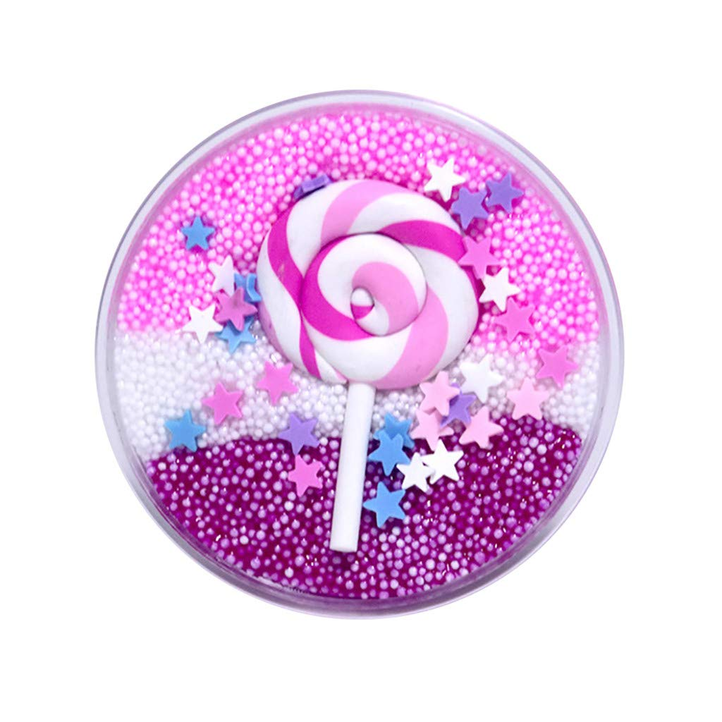 Livoty Beautiful Color Mixing Cloud Slime Mud Fluffy Cotton Candy Slime DIY Stress Relief Kids Funny Sludge Toy Gift (A)