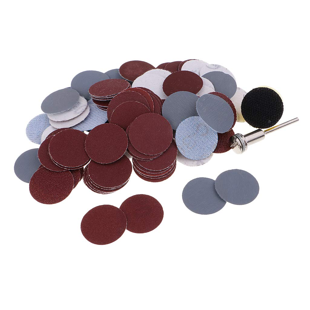 Baoblaze 100 Pieces Sanding Discs Pad Kit for Drill Grinder Rotary Tools with Backer Plate & Shank Includes 100-3000 Grit Sandpapers