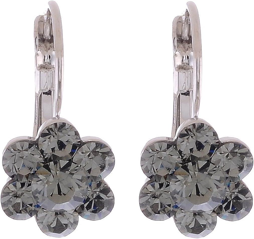 Flores pendientes con piedras Swarovski®–Negro Diamante Piedra–Alta calidad joyas