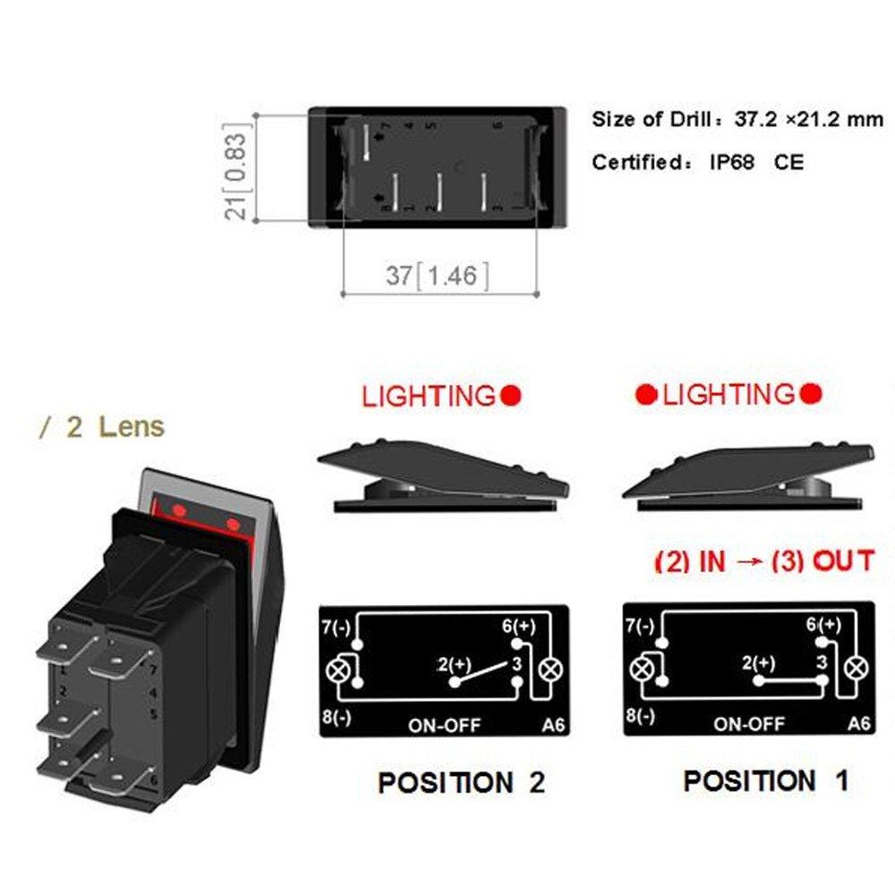 Bar Light Mintice/™ Interrupteur /à Bascule Commutateur Lampe Lumi/ère LED Bleu 12V 20A pour Voiture Bateau Moto