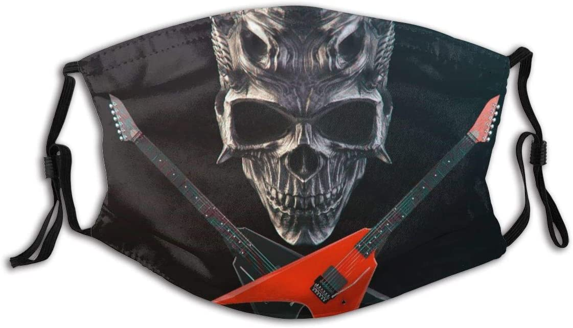 Heavy Metal - Calavera de Demonio, Guitarras Cruzadas en Negro y Rojo Bandana FA-CE Co-Ver Decoraciones faciales Sombreros con filtros