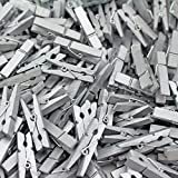 500 Pack - CleverDelights 1 3/8'' Mini Clothespins - Silver - Wooden Clips Craft Pins Scrapbooking