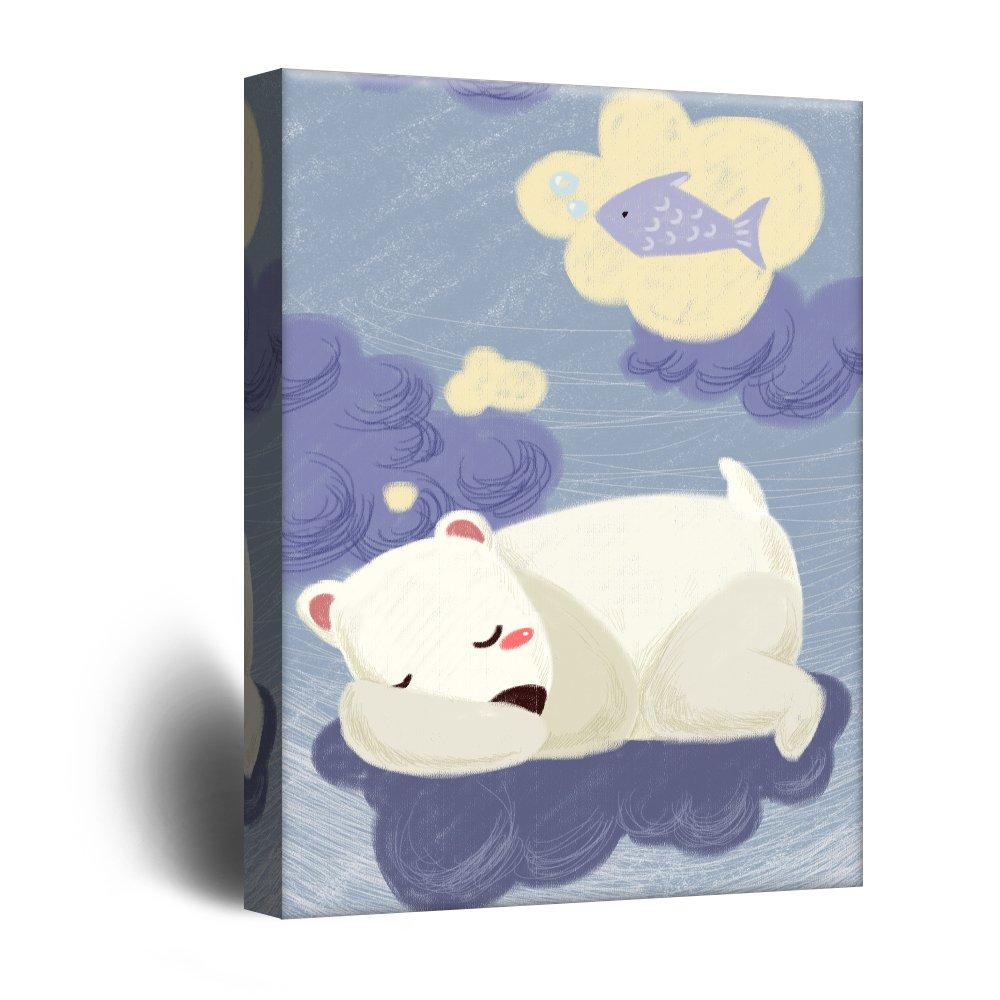 wall26 Cute Cartoon Animals Canvas Wall Art - A Sleeping Polar Bear Dreaming of Fish - Giclee Print Gallery Wrap Kid's Room Wall Decor | Ready to Hang - 12'' x 18''